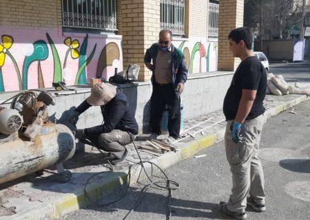 بهسازی مدارس توسط گروه جهادی موکب جوادالائمه (ع) محمدشهر